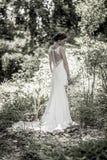 Vintage style portrait of bride in garden for wedding Stock Photos