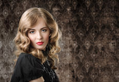 Vintage style portrait on retro background. Stock Image