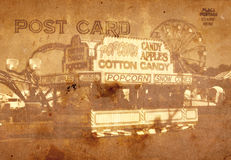 Vintage Style Postcard. Vintage Grunge Style Postcard Background With Carnival Stock Photography