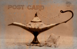Vintage Style Postcard. Vintage Grunge Style Postcard With Antique Oil Lamp Stock Images
