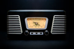 Vintage style radio. Vintage style black and chrome radio/record player on a black background Stock Photo