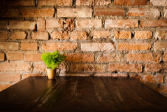 Vintage style. Red brick wall with wood table Stock Image