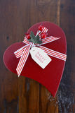 Vintage style red heart shape Christmas gift Stock Images