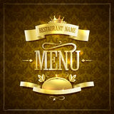 Vintage style restaurant menu design with golden ribbons against brown backdrop Stock Image