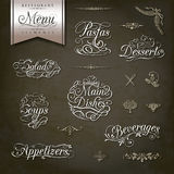 Vintage style restaurant menu designs. Calligraphic titles and symbols for restaurant menu and design Royalty Free Stock Photography