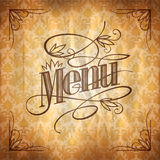 Vintage style restaurant menu floral design, against chic retro damask paper backdrop Royalty Free Stock Photography