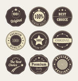 Vintage style retro emblem label collection. Set of nine labels on a light background Stock Images