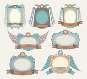 Vintage style retro labels and ribbon set. Stock Photo