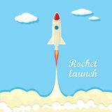 Vintage style retro poster of Rocket launcher. Vector illustration Royalty Free Stock Image