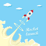 Vintage style retro poster of Rocket launcher. Vector illustration Royalty Free Stock Images