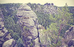 Vintage style rock formation in Bastei. Royalty Free Stock Images