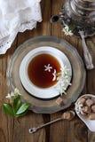 Vintage style: romantic tea drinking with jasmine tea. Decorative composition of vintage style: romantic tea drinking with jasmine tea Stock Photos