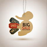 Vintage style sale tags design. Elephant Royalty Free Stock Photography