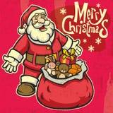 Vintage style santa greeting christmas Royalty Free Stock Images