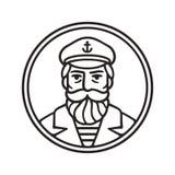 Vintage captain portrait. Vintage style sea captain drawing. Sailor or fisherman portrait with beard, vector line art illustration vector illustration