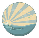 Vintage style sea wave and sun rays vector design Stock Photos