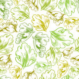 Vintage style seamless background with leaves. Royalty Free Stock Image