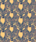Vintage style seamless pattern with deer heads. Hand drawn Royalty Free Stock Image