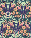 Vintage style seamless pattern with macaw parrots. Hand drawn vector Stock Image
