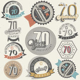 Vintage style Seventy anniversary collection. Stock Photo