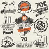 Vintage style Seventy anniversary collection. Royalty Free Stock Photos