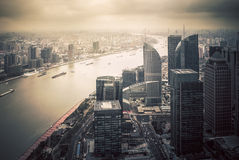 Vintage style of Shanghai cityscape from top view Stock Photos