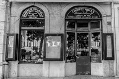 Vintage style shops in the centre of Lisbon, Portugal stock images