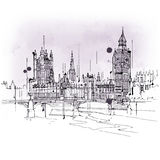 Vintage style sketch of Big Ben and Parliament Stock Images