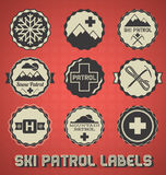 Retro Ski Patrol Labels and Icons Royalty Free Stock Image