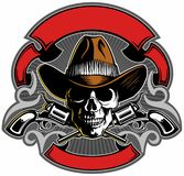 Vintage style skull with cowboy hat, crossed guns and banners, vector skull logo design. Vintage style skull with cowboy hat, crossed guns and banners, vector stock illustration