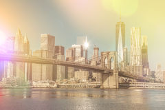 Vintage style Skyline of downtown New York City at early morning Royalty Free Stock Photo