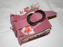 Vintage-style small photo album. Handmade by photographer Royalty Free Stock Photography