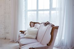 Vintage style sofa in loft interior room with big window. Vintage style sofa in loft interior room with big window Stock Photography