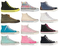 Vintage style of sport colorful sneaker shoes on white backgroun Royalty Free Stock Image
