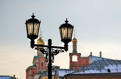 Vintage style street lamp in Moscow Kremlin. Color photo. Stock Photo