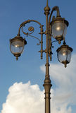 Vintage style street lamp on Moscow street in summer with blue sky background Stock Image