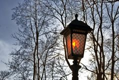 Vintage style street light in Alexanders garden in Moscow. Stock Photos