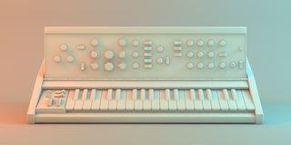 Vintage style synthesizer. 3d illustration Stock Image