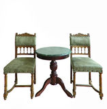 Vintage style table and chair isolated Royalty Free Stock Photography