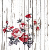 Vintage style of tapestry flowers fabric pattern on  wooden Royalty Free Stock Images