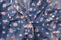 Vintage style of tapestry flowers jeans shirt Stock Images