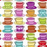 Vintage style Teacup Background. Rainbow Colored Vintage style Teacup Seamless Background Royalty Free Stock Photo