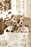 Vintage style teddy bear family- sepia effect Stock Photography
