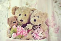 Vintage style teddy bear family Stock Photos