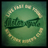Vintage style tee print design motorcycle club Royalty Free Stock Image