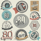 Vintage style 80th anniversary collection. Stock Photos