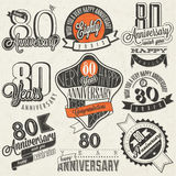 Vintage style 80th anniversary collection. Stock Images