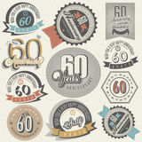 Vintage style 60th anniversary collection. Royalty Free Stock Photos