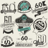 Vintage style 60th anniversary collection. Sixty anniversary design in retro style. Vintage labels for anniversary greeting. Hand lettering style typographic Royalty Free Stock Image
