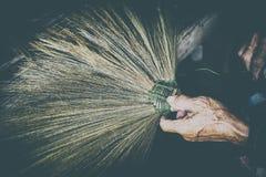 Vintage style thailand cultural,handmake broom making Royalty Free Stock Photo